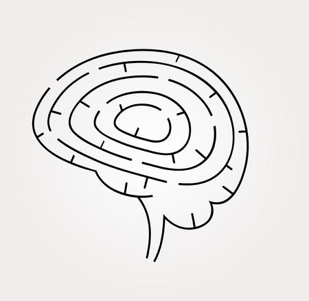 contemplation: Vector illustration of brain maze. Intelligence concept
