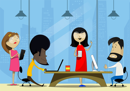 co: Creative cartoon people working in office. Teamwork, co working concept illustration. Vector