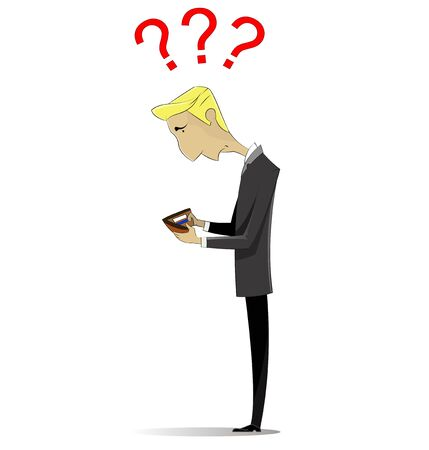 Man without money in wallet. Concept illustration on theme of lack of money, bankruptcy, financial crisis, loans.