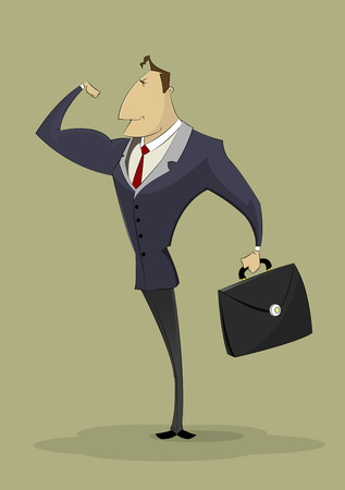 Strong businessman shows biceps. Successful entrepreneur, business, strong leader concept illustration. Ilustrace