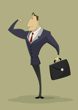 Strong businessman shows biceps. Successful entrepreneur, business, strong leader concept illustration. Illustration
