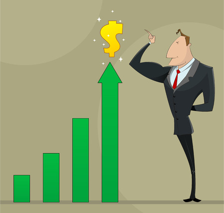 managing: Businessman with business growing up profit diagram. Success managing concept illustration. Illustration