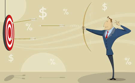 purposeful: Comic cartoon businessman shooting at target with bow and arrows. Achieving the goals concept illustration.