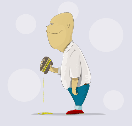Fat, glutton standing and holding burger in his hand. Fun cartoon illustration.