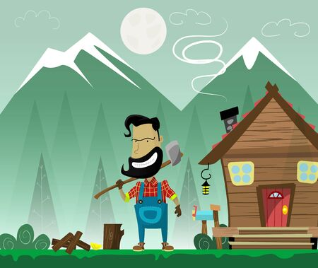 woodcutter: Hipster cartoon woodcutter with beard and mustache and ax on forest background with wooden hut.