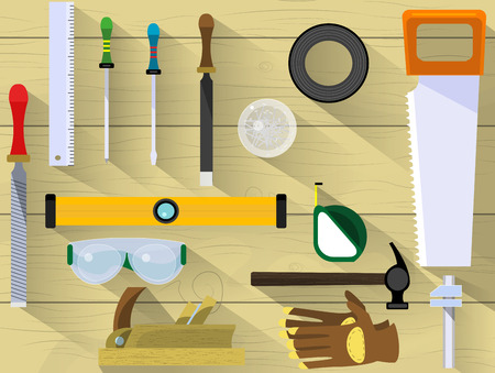 craftsman: Table craftsman or builder. Banner or template with chisel, screwdriver, chisel, glasses, seals, ruler, nails, tape measure, saw, file, rasp, insulating tape.