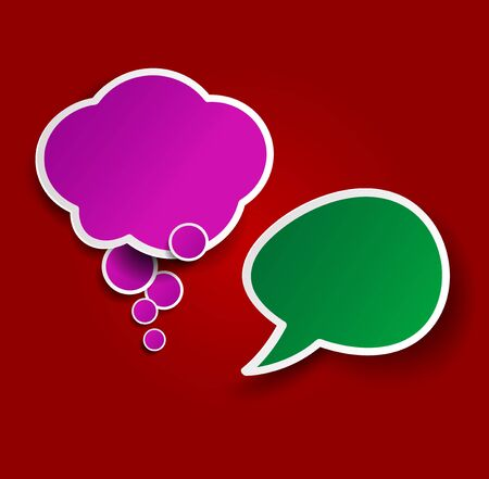 Two colorful sticky speech bubbles.