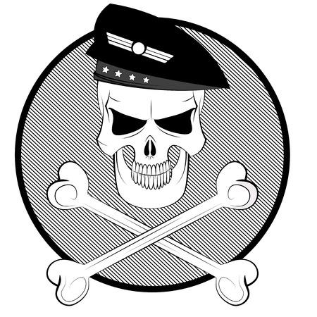 commando: Black and white cartoon commando skull in beret with crossbones.
