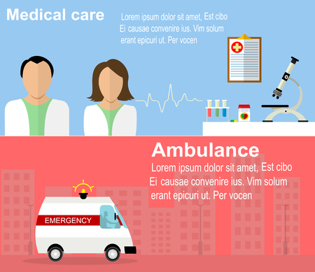 doctor visit: Visit to the doctor and ambulance banners. Flat health care illustrations.