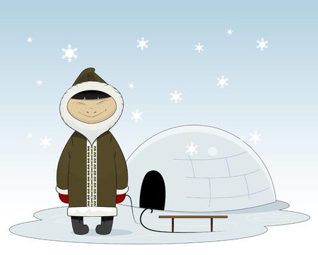 eskimo: Cartoon eskimo with sleigh and yurt behind. Eskimo clothes human and alaska eskimo native northern people. Funny nationality traditional chukchi character.