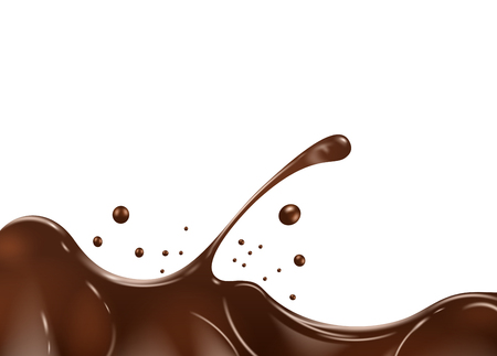 Chocolate splash on white background. Illustration