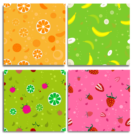 bannana: Four cute seamless patters with fruits. With orange, bannana, strawberry and mix from different fruits.Good for design of the packaging material, clothing. Vector
