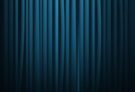 portiere: Theatrical background. Blue drape curtains. Cinema, theater, opera house. Vector
