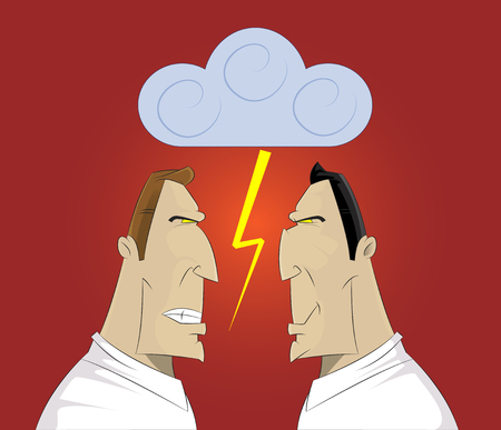 Vector illustration of two businessmen confrontation, conflict and cussing. Illustration