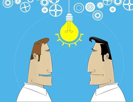 financial adviser: Two cartoon businessman share idea.Business plan, teamwork, brainstorm concept. Vector illustration
