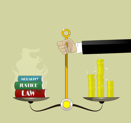 law books: Hand holding justice scales with money and law books. Corruption concept vector cartoon illustration