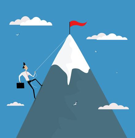beeldverhaal beklimt berg met vlag op de top. Loopbaanontwikkeling, promotie, te bereiken doelen begrip vector illustratie.