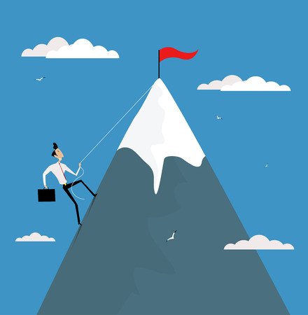 Cartoon businessman climbing mountain with flag on the top. Career development, promotion, achieve goals concept vector illustration.