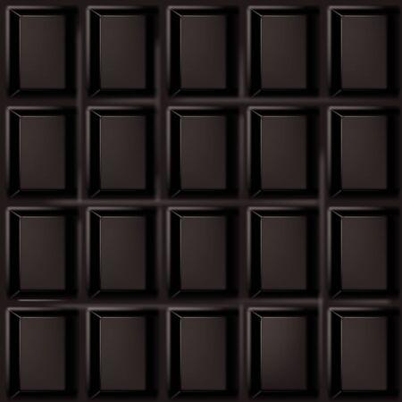 Realistische zwarte chocoladereep naadloze vector illustratie.