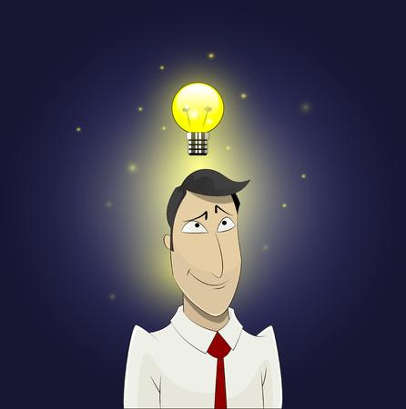 Light bulb above head of cartoon man. Insight, inspiration, creativity, making decision, thinking concept. Illustration