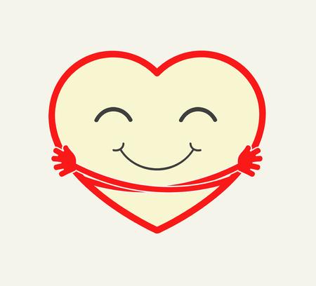 Cute cartoon heart hugging itself. Love, care, compation concept illstration. vector Reklamní fotografie - 62192349