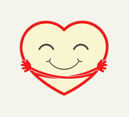 Cute cartoon heart hugging itself. Love, care, compation concept illstration. vector