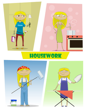 repairs: Four illustrations of busy cartoon young woman. She cooks, makes repairs, cleans, irons clothes. Vector