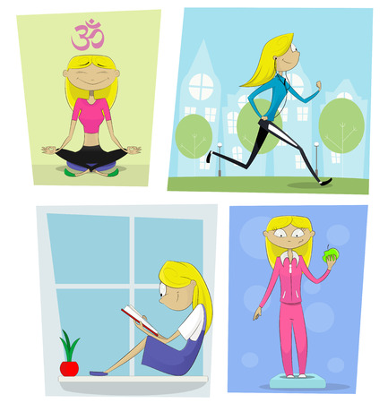 yoga outside: Sports, diet and activities concept. Cartoon girl reads book, does yoga, jogging,meditates, weighed on the scales. Healthy lifestyle vector illustration Illustration