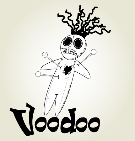 damnation: Cute black and white Voodoo doll icon over white background. Vector