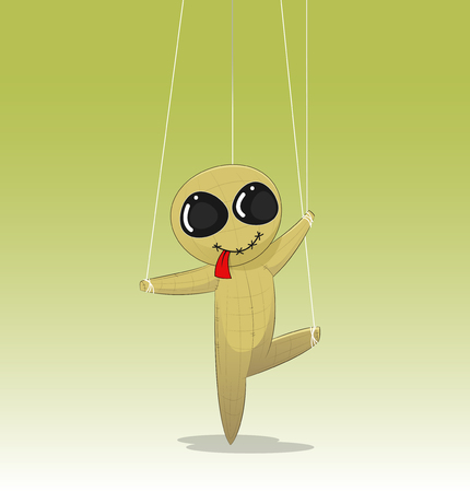 puppeteer: Concept of manipulating, with fun cartoon doll. Vector