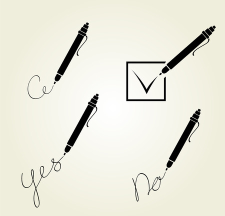 Set of writing pen design. Four simple vector icons
