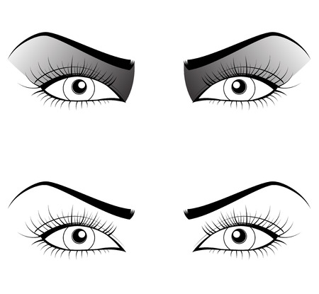 illustrated: Black and white set of woman eyes. Vector illustration Illustration