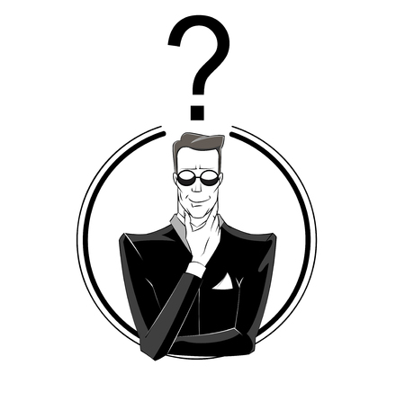 interrogative: Man in black suit with question mark under his head. Concept illustration of confusion, mystery, investigating. Vector Illustration