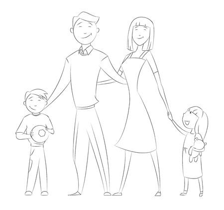 Cartoon glückliche Familie lächelnd und zusammen stehen. Contour Bild auf Hintergrund Standard-Bild - 63149511