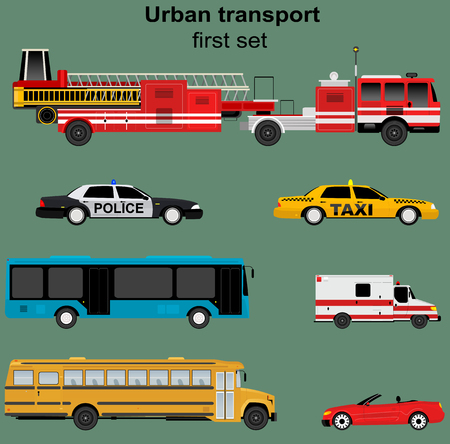 flashers: Collection of municipal transport buses, taxi, police car, ambulance, fire engine in flat design. Nice for infographic brochures, web and motion design. Vector Illustration
