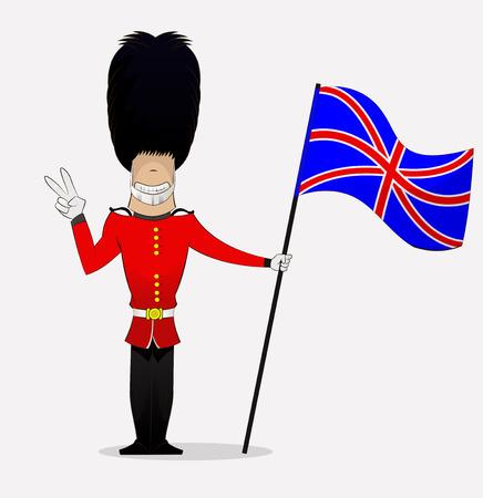 Cartoon British guardsman shows peace symbol holding flag . Vector Illustration