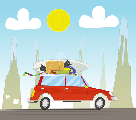 Vacation travel by car on sunset background. Tourism concept vector illustration.