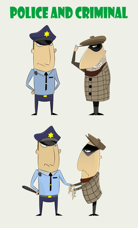 delinquent: Cartoon set of policeman and criminal. Two just standing characters and policeman that cught bandit. Vector