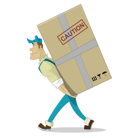 Cartoon beeld van porter man in blauwe cap. Werknemer draagt grote doos achter zijn rug. Cartoon loader man. Vector illustratie.