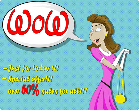 gift accident: Cute surprised woman in cartoon comics style with speech bubble. Vector illustration.