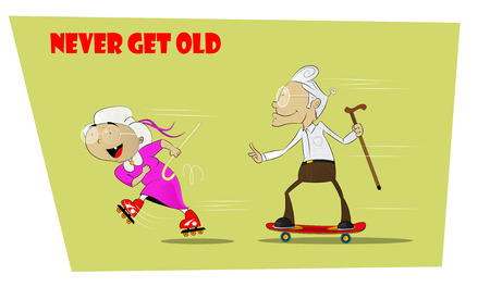 Fun and crazy senior people. She rides on roller skates, and grandfather goes after her on skateboard. Concept resilient seniors. Never aging and forever young. Vector comic illustration. Stock Illustratie