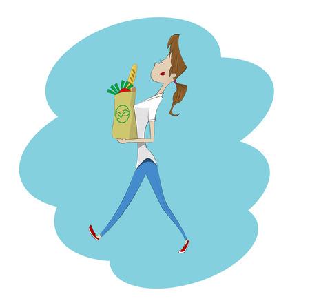 Mujer de dibujos animados con bolsa de papel llena de comida sana. ilustración vectorial
