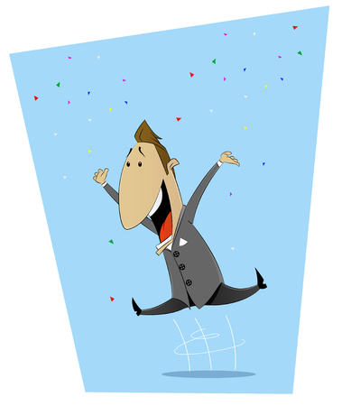 happiness or success: Cartoon jumping with happiness man. Good luck, happiness, luck, success concept illustration. Vector