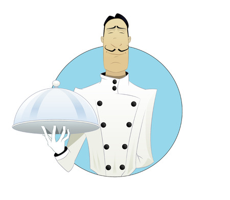 Elegant cartoon Chef with tray in his hand.