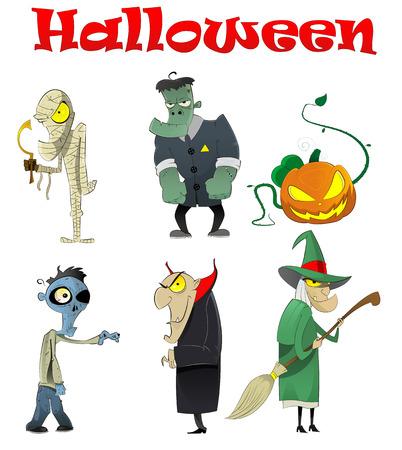 Vector set of different Halloween cartoon monsters such as vampire, zombie, witch, mummy, evil pumpkin...Character design Vettoriali