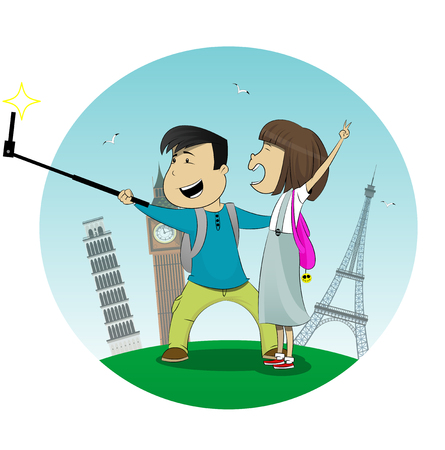 Cartoon boy and girl posing together and making selfie. There are Eiffel Tower, Leaning Tower and Big Ben behind them. Vector Illustration