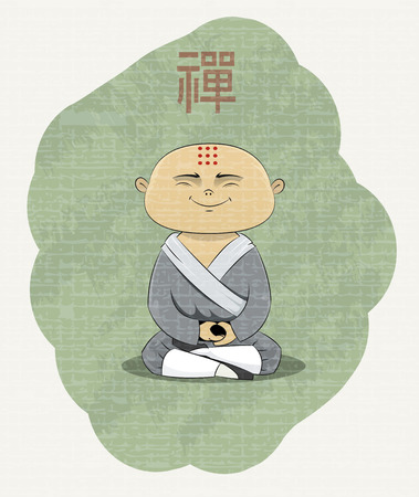 buddist: meditating Buddhist monk with Zen kanji over his head. Every elements of illustration located on separate layer, so you can easily remove texture of image or do other editing. Vector Illustration