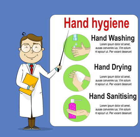 Cute cartoon doctor telling about hand washing, disinfectant, cleaning using antibacterial wipes. Hygiene sanitary, clean, wash, disinfect hygienic vector infographic