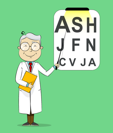medical testing: Fun cartoon ophthalmologist testing visual acuity. Medical vector Illustration