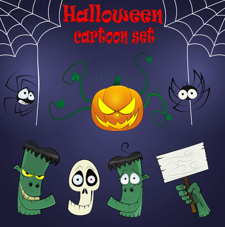 hellish: Halloween cartoon design elements with dead heads, spiders, cutted hand and pumpkin. Vector